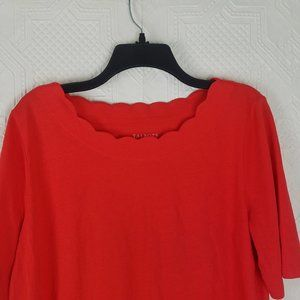 🌻Talbots Coral Scalloped Tee Size Large